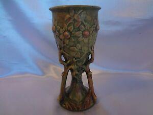 Rare Weller Art Pottery-Woodcraft -Pedestal Vase- Green with Embossed Flowers
