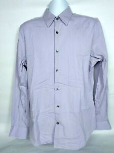 Express Men's Button Down Fitted Shirt Lg 16-16 1/2 Striped Lavender Stretch