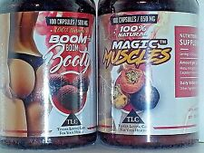 """BOOM BOOM BOOTY & MAGIC MUSCLES """"Best Booty Buddies"""" 100 CAPS - 2 PACK, 1 each"""