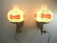 New listing Vintage Pair Budweiser Beer Anheuser Busch Advertising Lamps Wall Sconces Globes