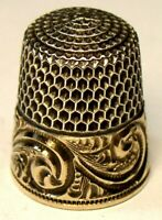 """Antique Simons Bros. Child's Gold Band Sterling Silver Thimble  """"Scrolls""""  """"C"""""""