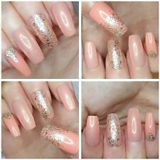 NEW! Natural  Nude Shimmer & Gold Glitter LONG COFFIN False Nails x 20
