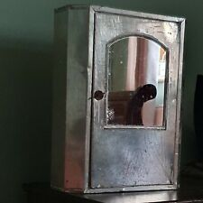 Vintage industrialDistressed Metal Mirrored Bathroom Cabinet naturally aged