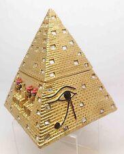 Ancient Egyptian Mythology Pyramid Eye of Horus Mirror Hinged Gold Jewery Box