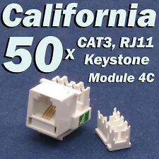 50 X Pcs CAT3 Keystone Jack RJ11 6P4C Phone Telephone Modular White CAT 3