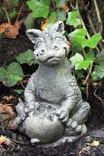 Little Darling Dragon 'Eating Apple' - cast stone-cute baby animal garden statue