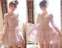 Kawaii Princess Sleeve Cute Sweet Dolly Gothic Lolita elegant Lace Dress Purple