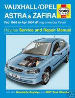 Haynes Manual Vauxhall Astra & Zafira 1998-2004 Petrol 3758 NEW