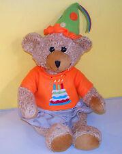 Happy Birthday Bear 3 Candles on Cake~ Brown Teddy Bear~PLUSH Stuffed Animal