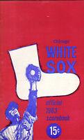 1963 baseball program, Chicago White Sox vs. Cleveland Indians, unscored VG