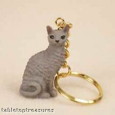 cornish rex blue cat key chain great gift