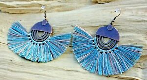 Blue/Brown/Cream Knotted Thread Tassel Fan & Copper Effect Earrings 8cmx6cm NEW