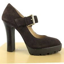 Michael Kors Shoes 8.5 Brown Suede Leather High HEELS Platform Mary Jane Buckle