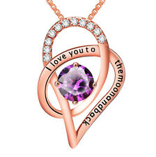 I Love You to the moon and back Heart Rose Gold Zirconia Necklace Pendant