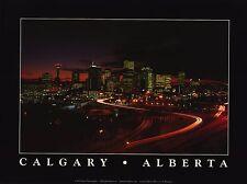CITYSCAPE POSTER~Calgary At Night Flames Art Province of Alberta Print Beautiful