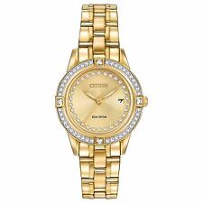 Citizen Eco-Drive Women's FE1152-52P Silhouette Crystal Accents Gold Tone Watch
