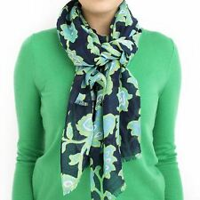 """Imported NAVY Floral Fashion Scarf 100% Voile Polyester 22.5"""" Width x 74"""" Length"""