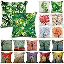 Floral Leaf Cushion Cover Garden Waterproof Pillow Case Cotton Home Sofa Decor