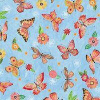 Fabric Butterflies Floral Flight Blue Wilmington Cotton 1/4 Yard 11157-437