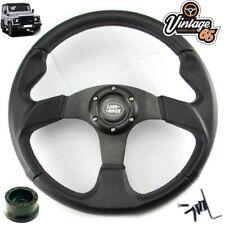 Land Rover Defender Black Motorsport Steering Wheel 18mm 48 Spline Boss Kit Horn