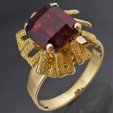 Distinctive Retro 1970's GARNET 14k Solid Yellow GOLD COCKTAIL RING Sz O1/2