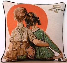 Norman Rockwell- First love, Boy & Girl Looking At Moon Tapestry Pillow New