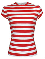 NEW RED AND WHITE STRIPED CAP SLEEVE LADIES WOMENS GIRLS TSHIRT TOP T SHIRT LOT