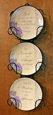 Serenity Prayer Miniature Plate Rack 3 Plates Vintage Brand New Motivational