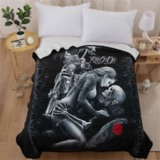 Super Soft Warm Skull Love Micro Plush Fleece Blanket Throw Rug Sofa Bedding Hot