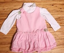 EUC Bonnie Baby Corduroy Pink Jumper Dress with White Button Shirt 24 mos