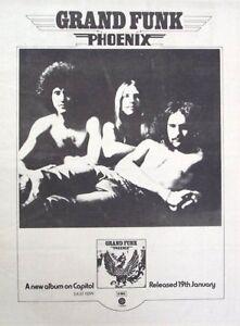 GRAND FUNK RAILROAD 1973 original POSTER ADVERT PHOENIX