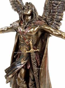 """11"""" Ascending Saint Michael Angel Statue / Sculpture Antique Bronze Color"""