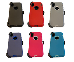 Shockproof Rugged Hybrid Case Cover with Belt Clip For iPhone X XR S8 S9 N8 N9