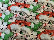 Christmas Cats FQ Fat Quarter Fabric Glitter Snow Flakes 100% Cotton Quilting