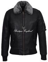 Men's Army Bomber Jacket Black Fur Collar REAL HIDE SKIPPER LEATHER 2836