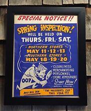 RARE Vintage Wallace Shoelting Spring Inspection Sherlock Holmes 007 Sign Framed