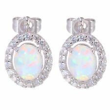 Women White Gold Plated Stud Earrings Round Cut White Fire Opal Wedding Jewelry