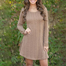 Women Winter Long Sleeve Knitted Jumper Top Slim Sweater Casual Short Mini Dress