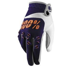 100% Men's Airmatic Gloves Navy / Orange Small MX ATV UTV Motorcross Dirtbike