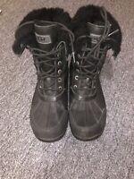 UGG Butte Black Waterproof Leather Sheepskin Winter Snow Boots Size US 9 Mens