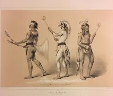 Ball Players, George Catlin, Original Lithograph,Limited Edition 1970