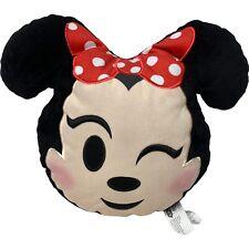 Disney Emoji Winking Minnie Mouse Head Stuffed Plush Pillow Toy Decor Bedding
