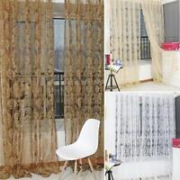 Vintage Florals Window Curtain Sheer Scarf Valances Tulle Voile Door Drape Panel