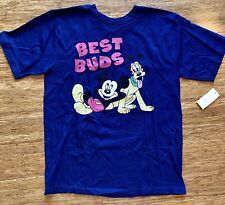"NEW! Disney ""BEST BUDS"" Mickey Pluto Boys Graphic Shirt 10-12 Large Gift Blue SS"