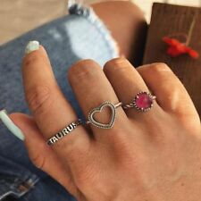 Hollow Love Heart Knuckle Ring Letter Taurus Red Crystal Rhinestone Ring Set