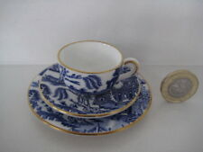 RARE MINIATURE COALPORT BLUE WILLOW TINY TRIO CUP SAUCER & PLATE DOLL HOUSE SIZE