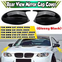 For BMW E81 E87 E90 E91 PRE-LCI Gloss Black Side Rearview Mirror Cover Cap Trim