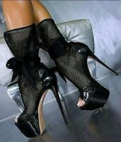 Ladies Sandals Mesh High Heels Stilettos Platform Open Toe Lace Up Ankle Boots
