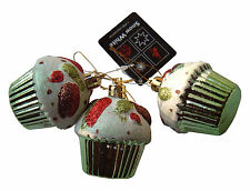 Cupcake Ornaments,Set of 3 Christmas Tree Glittery Bauble Decorations-Lime Green