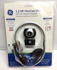 GE 1.3 MP MiniCam Pro WebCam & PC Stereo Headset With Mic 98003 New Windows Mac